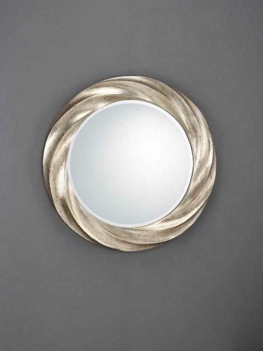 Espejo circular con moldura helicoidal acabado plata for Espejo circular