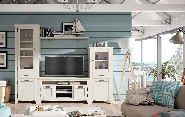 797 01 mueble madera estilo marinero for Muebles coloniales blanco
